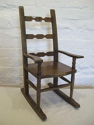 LARGE VINTAGE 23 inch high MINATURE OAK ROCKING CHAIR