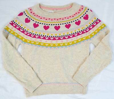 M&S Marks & Spencer girls jumper oatmeal heart nordic age 5 -14  NEW