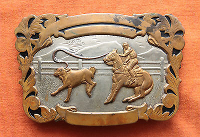Vtg Comstock Cowboy Horse Rodeo Calf  Roping German Silver Western Belt Buckle