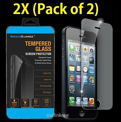2x HD Premium Real Tempered Glass Screen Protector for Apple iPhone 5/5S/5C