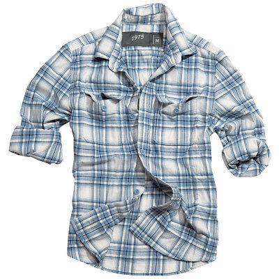 Surplus Woodcutter Classic Checked Mens Shirt Long Sleeve 100% Cotton Navy Blue