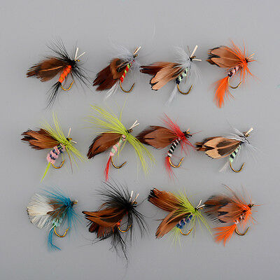 12x Fishing Flies Trout Tackle Accessories Lures Butterfly Barb Hooks Useful