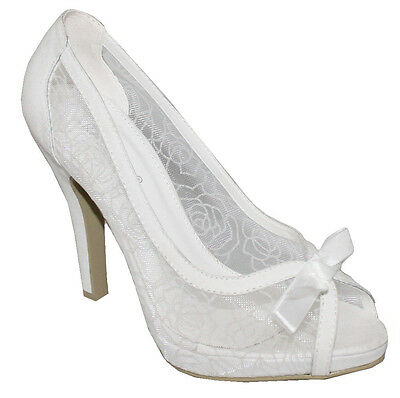 Womens Ladies Ivory Lace Evening Wedding Prom High Heel Peep Toe Court Shoes 3-8