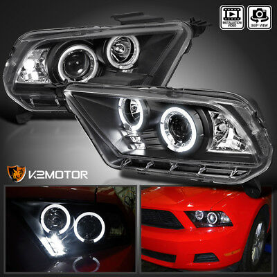 Fit 2010-2014 Ford Mustang Black Housing LED Projector Headlights Left+Right