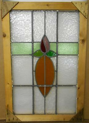 "MID SIZED OLD ENGLISH LEADED STAINED GLASS WINDOW Nice Simple Floral 16.5"" x 26"""
