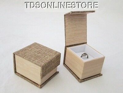 Magnetic Lid Burlap Ring Gift Boxes Package Of 6