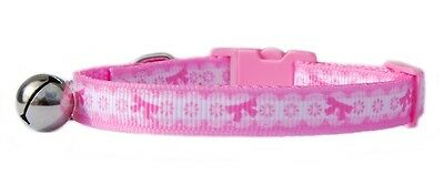 "Pink super cute   ""White lace & pink bows"" safety kitten cat  collar 3 sizes"