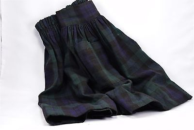 Vintage Girls Pleated Blackwatch Dark Green Navy Plaid Skirt Country Store