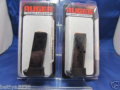 TWO Ruger LCP Magazine 380 ACP 7 Round Blued with Rest Clip Mag 90405