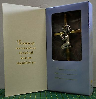 PRAYING GIRL ON METAL CROSS, 150 x 75mm, GOLD & SILVER COLOUR, GIFT BOXED