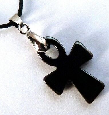 **beautiful Hematite Egyptian Style Ankh Pendant With Waxed Cord Necklace**
