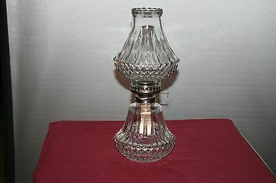 Vintage Lamplight Farms Clear Crystal Diamnd Oil Lamp with Wick