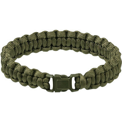 Tactical Army Paracord Wrist Band Bracelet Hiking Emergency Survival Olive 15mm