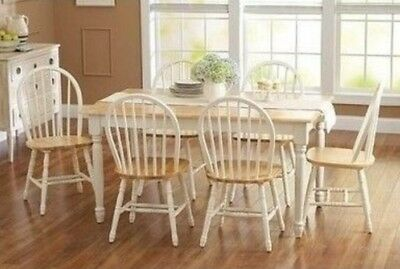 7 pc Dining Set Dinette Sets 6 Chairs Table Kitchen Room Furniture Chair White