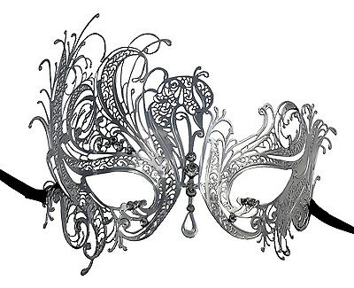 Sexy Swan Laser Cut Silver Metal Masquerade Mask With Clear Rhinestones