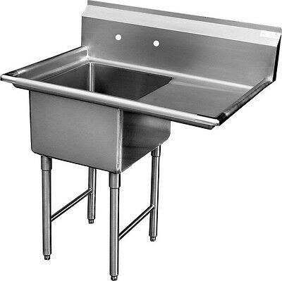 "ACE 1 Compartment Stainless Steel Sink 24""x24"" w/ Right Drainboard ETL SH24241R"
