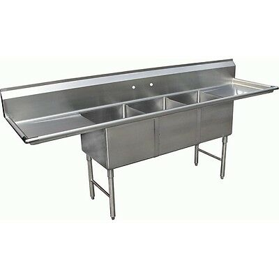 "3 Compartment Stainless Steel Sink 18""x18"" w/ Two 24"" Drainboards ETL SE18183D24"