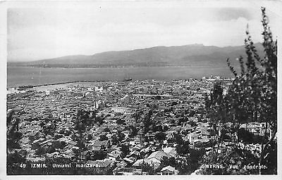 SMYRNA - IZMIR, TURKEY ~ TOWN & HARBOR OVERVIEW, REAL PHOTO PC ~ c. 1930s