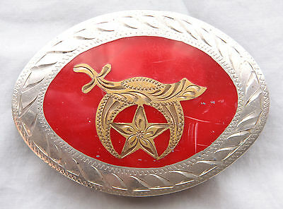 Vintage Western Flair Hand Made Engraved Inlay Shriners Western Belt Buckle