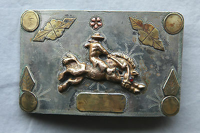 Vintage Hand Made Unique Cowboy Horse Rodeo Large Western Belt Buckle