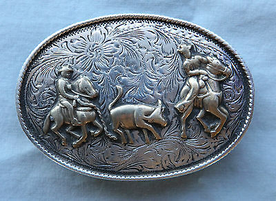 Vtg Fleming Cowboy Horse Rodeo Calf Roping Sterling Silver Western Belt Buckle
