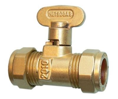 ISOLATION VALVE GAS COCK STOP TAP COMPRESSION FITTING, SIZE: 15mm