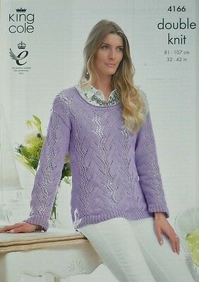 KNITTING PATTERN Ladies Long Sleeve Scoop Neck Lace Jumper Bamboo Cotton DK 4166