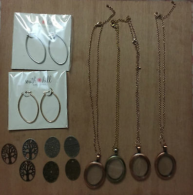 4 South Hill Designs Oval Lockets, 7 Oval Screens and 2 Oval Hoop