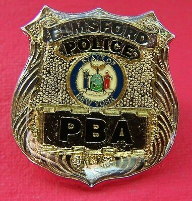 """Elmsford Police State of New York Mini Shield Badge Lapel Pin 1"""""""
