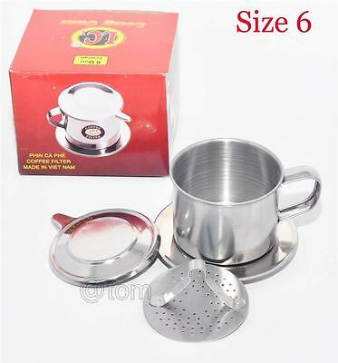 Vietnamese Coffee Filter Press Maker - Stainless Steel - Size 6