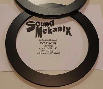 "PVC Plastic Speaker / Spacer Rings, 6.5 SMALL 6MM"" Thick One Pair Made in USA"