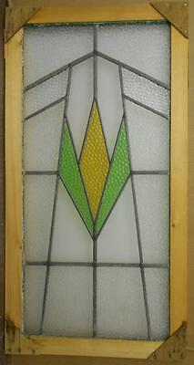 """LARGE OLD ENGLISH LEADED STAINED GLASS WINDOW Nice Simple Geometric 16"""" x 33.25"""""""