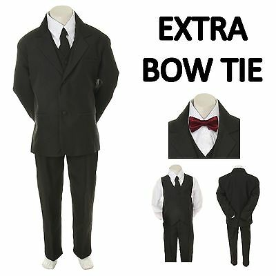 Baby Toddler Boy Black Formal Wedding Party Suit Tuxedo+ Burgundy Bow Tie S-4T