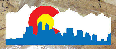 CO Colorado State Flag Denver Skyline Sticker Decal - 9""