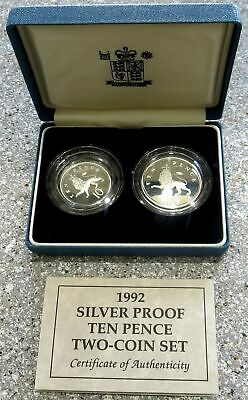 1992 Silver Great Britain 10 Pence 2 Coin Proof Set Original Box And Coa