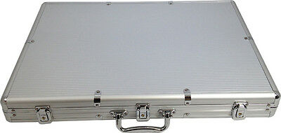 1000 Aluminum Chip Carrying Case with 3 Card Slot Holds 1000 Poker Chips NEW *