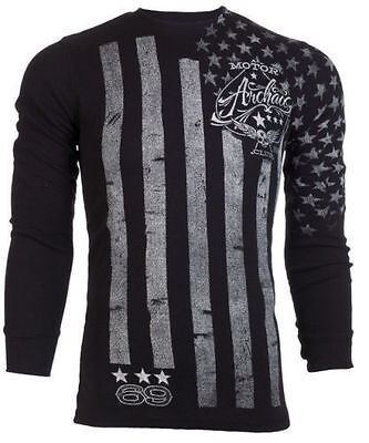 ARCHAIC AFFLICTION Mens LONG SLEEVE THERMAL Shirt NATION American USA FLAG $58 a