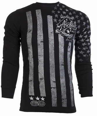 ARCHAIC by AFFLICTION Mens THERMAL Shirt NATION American USA FLAG Biker $58 a