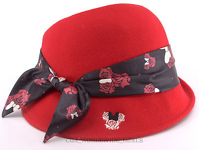 NEW Disney Parks Minnie Rose Icon Fashion Cloche Scarves Red Womens Hat