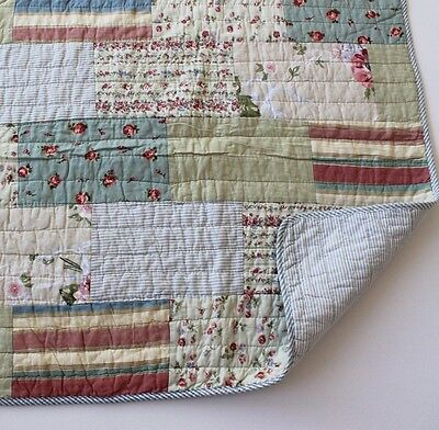 Shabby Chic French Country Throw Quilt Rug Blanket + Free Cushion Cover