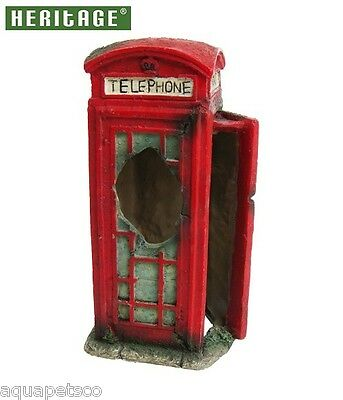 HERITAGE BM128s AQUARIUM FISH TANK PHONE BOX ORNAMENT DECORATION RED 14CM HIDE