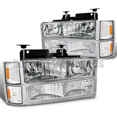 1994-1998 Chevy Tahoe/ C10/ Suburban Chrome Head Lights+Corner+Bumper Clear