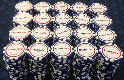 500 CLUB UBT Composite Poker Chips 12 GRAM  Blue Tournament GREAT DEAL
