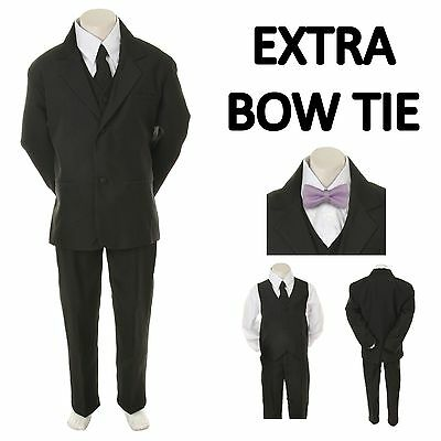 New Baby Toddler Boy Black Formal Wedding Party Suit Tuxedo + Lilac Bow Tie S-4T