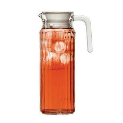 6x Jug / Pitcher, 1 Litre with Lid, Glass, Water, Drinks, Beverages