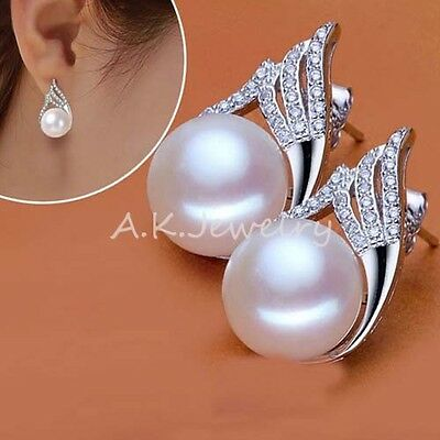 NEW Women White 9mm Round Freshwater Real Pearl Drop/Dangle Earrings Stud GIFT
