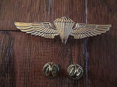 U.s Military Marine Corps Gold Paratrooper Jump Wings Pin Double Clutch Back