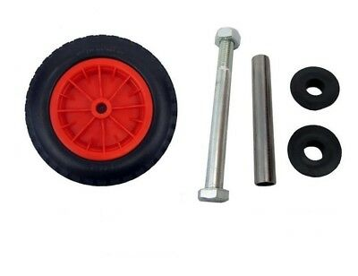 """16"""" Red Pu Wheel Barrow Wheel Solid 4.80/4.00-8 Puncture Proof + Axle Set"""