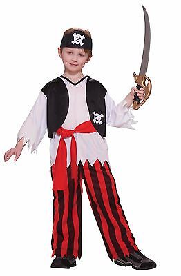 Boys Caribbean Pirate Costume Pants Shirt Vest Bandana Halloween Child Kids