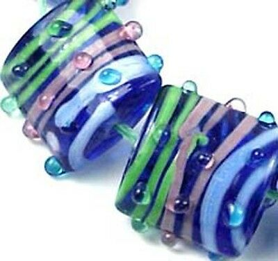 Lampwork Handmade Glass Square Pink Green Blue Ribbon beads (6)